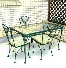 Wrought Iron Patio Furniture Vintage - vintage woodard glass top wrought iron table and four chairs ebth