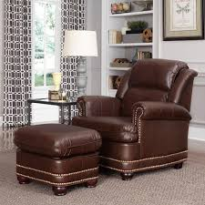 Ottoman Styles Home Styles Beau Brown Faux Leather Arm Chair With Ottoman 5200