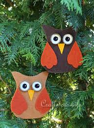 fall craft for felt owl ornaments