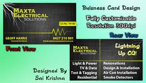 Resolution For Business Cards Business Card Design For Maxta Electrical Solutions By Sai Krishna