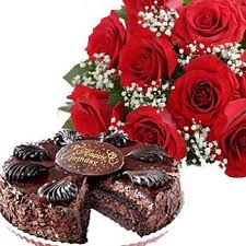 flowers and chocolate flower and cakes to bangalore cake with flower combo online