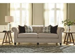 Linen Chesterfield Sofa by Benchcraft Azlyn Transitional Chesterfield Sofa With Linen Blend