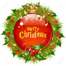 xmas circle frame with big red ball branch of christmas tree
