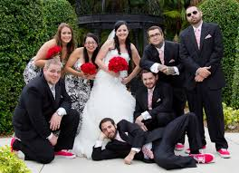 red and white bridal party day of the dead wedding ideas and