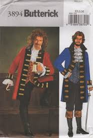 Butterick Halloween Costume Patterns Butterick 3894 Mens Pirate Costume Pattern Xs Chest 30 40