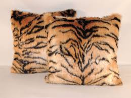 Faux Fur Throw Pillow Hand Crafted Siberian Tiger Caramel Black Faux Fur 18 X 18 In