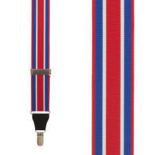 American Flag Suspenders Red White U0026 Blue Stripe Grosgrain Suspenders Clip Suspenderstore
