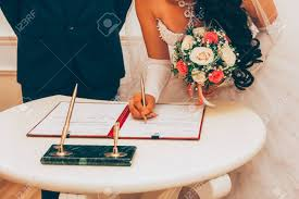 wedding registration wedding registration of marriage the with a bouquet of