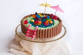 swimming pool cake vanilla chocolate jelly candy alanabread