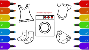 learn how to draw and color baby clothes and accessories easy