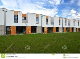 Modern Row Houses - just built modern family row houses stock photo image 43519964