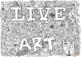 live your art doodle coloring page free printable coloring pages