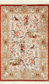hunting scene silk persian qum rug 49411 by nazmiyal rugs