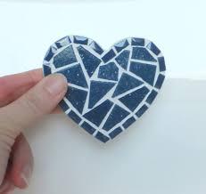 aimant cuisine bleu coeur aimant aimant cuisine mosaïque mini par mollycatmosaics