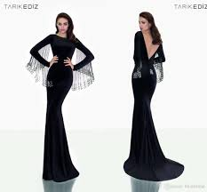classy black backless evening dresses long sleeves winter formal