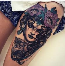 new gypsy tattoo on thigh by emily rose murray