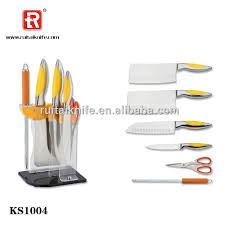2017 best sales acrylic block 6pcs cheap kitchen knife of china