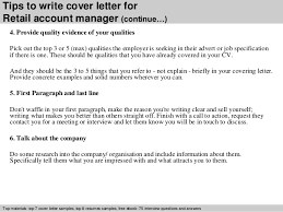 retail account manager cover letter