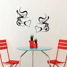 kitchen wall mural ideas 2pcs coffee cup wall sticker home decor coffee wall removable