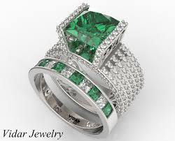 emerald diamonds rings images Dazzling emerald diamond wedding ring set in white gold vidar jpg