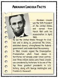 abraham lincoln facts information u0026 worksheets lesson resources