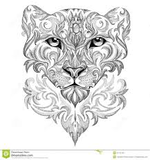 snow leopard panther cat with patterns and ornaments