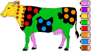 cow coloring page drawing cow for kids learn colors youtube