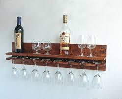 rustic wall wine rack u0026 hanging stemware glass holder shelf set