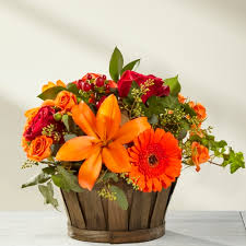Autumn Flowers | orange and red autumn flower basket toronto delivery ital florist