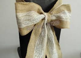 Vintage Wedding Chair Sashes 6pcs Lot Hessian Jute Burlap Chair Sashes Jute Chair Tie Bow