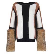 fur sweater cable knit sweater with fur sleeves maram