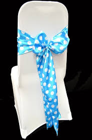 turquoise chair sashes high quality satin polka dot chair sashes