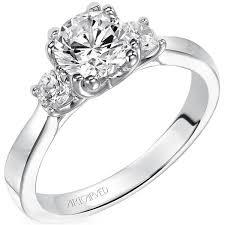 3 engagement ring artcarved amanda 3 diamond 0 33 carat diamond engagement ring