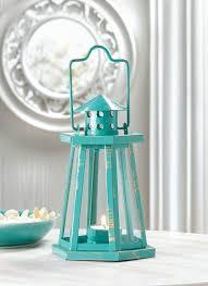 lanterns home decor teal blue metal lighthouse candle lantern ocean beach sea nautical