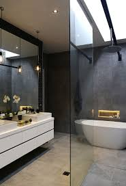 best images about bathroom ideas pinterest contemporary varying tones white ivory and gray visually combine make this bath look expansive belying its narrow dimensions giving spa like quality