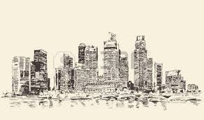 new york city architecture vintage engraved illustration hand