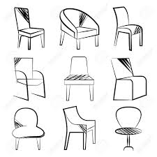 sketch chair set royalty free cliparts vectors and stock