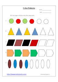 pattern math worksheets preschool preschool color patterns works on shapes math worksheets preschool