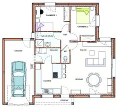 plan maison plain pied 2 chambres garage constructeur maison challans construction maison individuelle en
