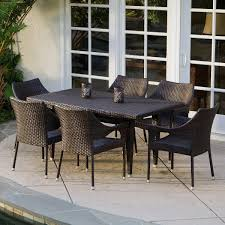 del mar wicker 7 piece outdoor dining set with stackable wicker