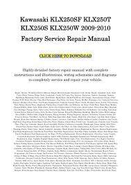 kawasaki klx250 repair service manual 2009 2010