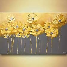 modern art for home decor landscape painting yellow gray flowers gray background painting