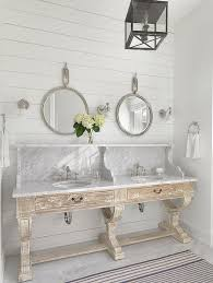 White Cottage Bathroom Vanity by White Cottage Master Bath With Glass Bell Jar Sconces Cottage