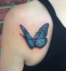 awesome 3d butterfly tattoo on left back shoulder by spencer caligiuri