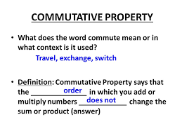 commutative property what does the word commute or in what