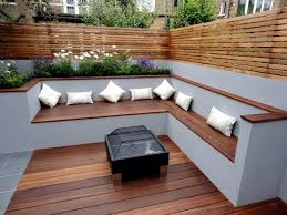 the modern wooden garden bench fits any garden situation garden