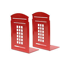 london phone booth bookcase bookends red pair non slip heavy metal durable sturdy strong books