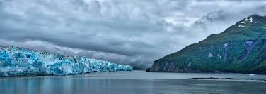 Teh Yakon hubbard glacier and sea landscape in the yukon territory canada