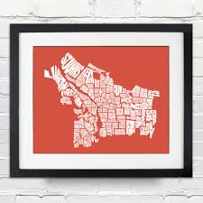portland oregon neighborhood word map typography map art home