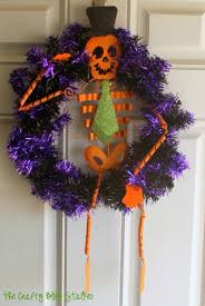 halloween skeleton wreath decorating party the crafty blog stalker